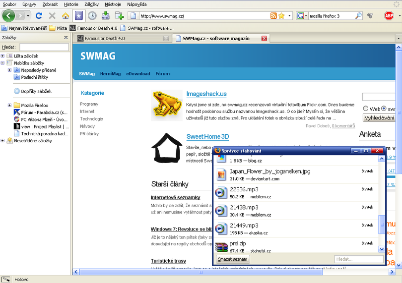 Náhled Firefox 3 SWMAG
