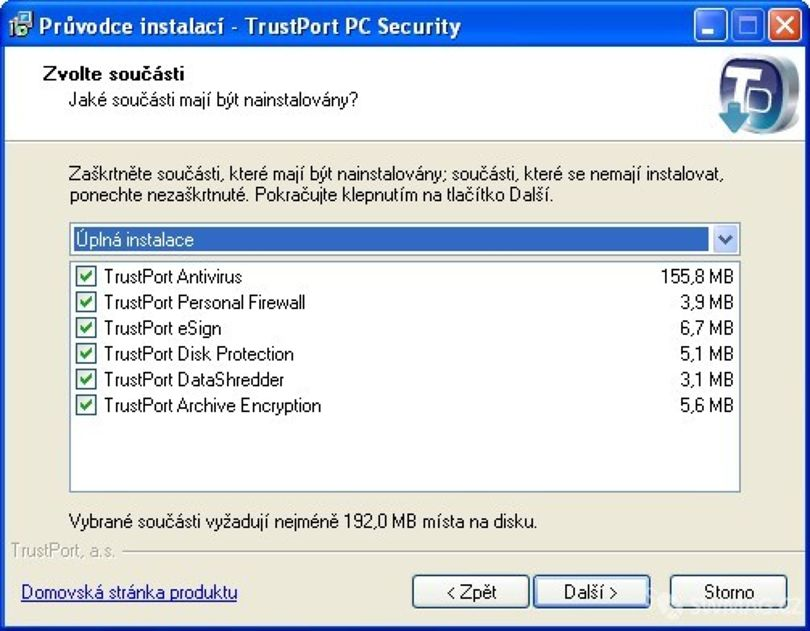 Instalace TrustPort Security 2009