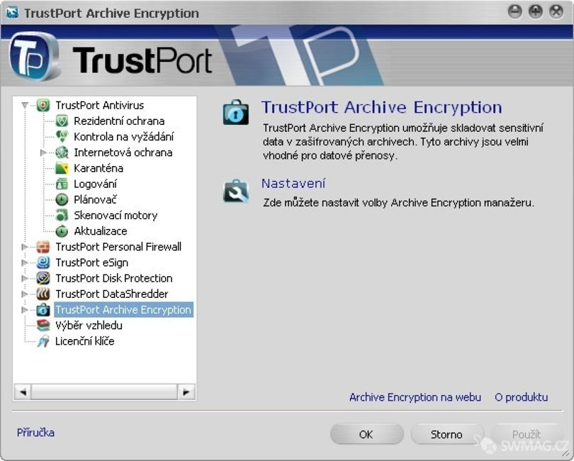 modul Archive Encryption TrustPort PC Security 2009