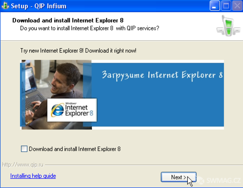 instalace Internet Explorera 8