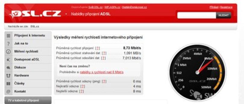 Měření rychlosti internetu