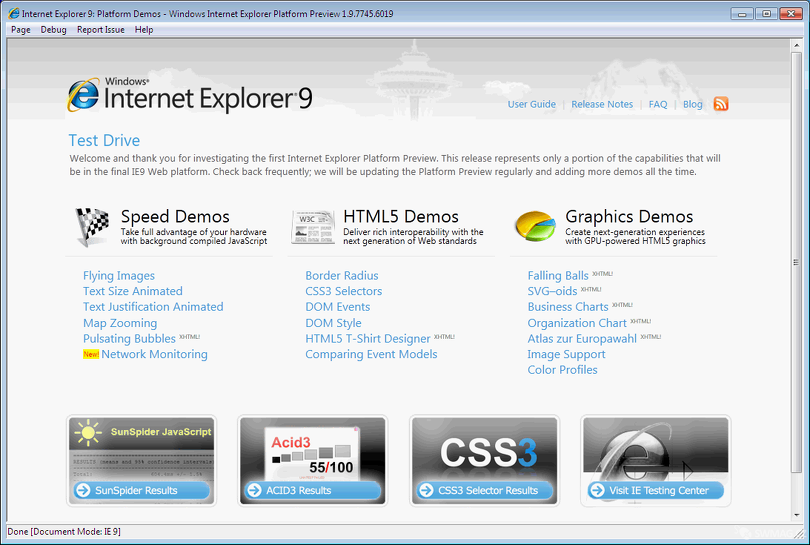 Internet Explorer 9 Platform Preview