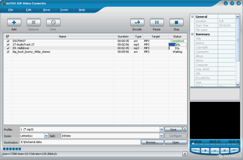 ImTOO 3GP Video Convertor v akci