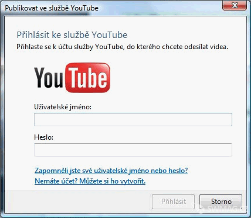 Export na server YouTube