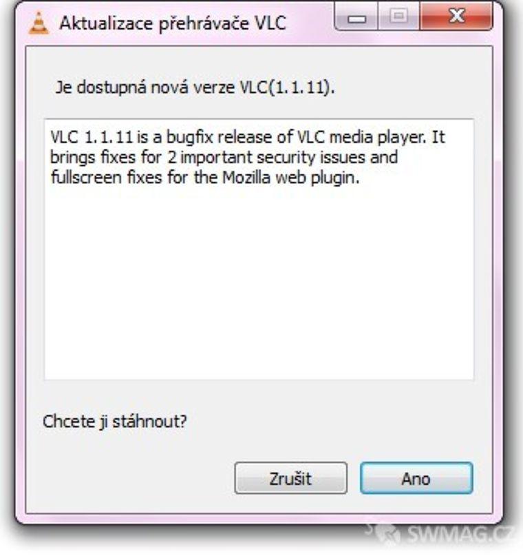 Aktualizace programu VLC