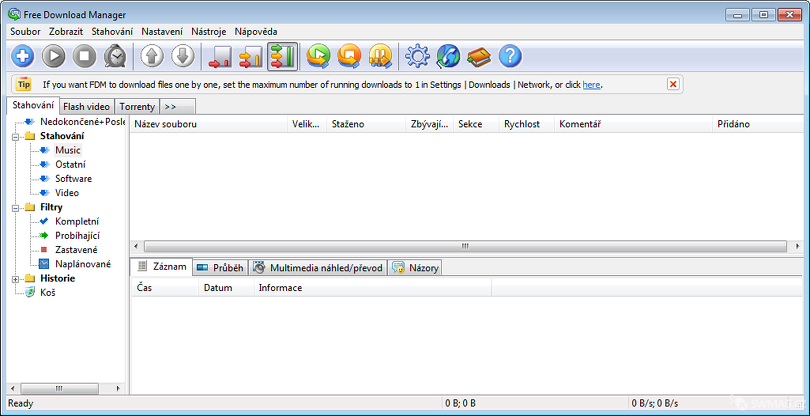 Vzhled programu Free Download Manager