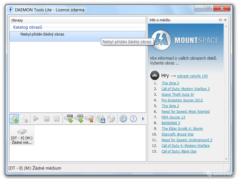 Standardní menu DAEMON Tools