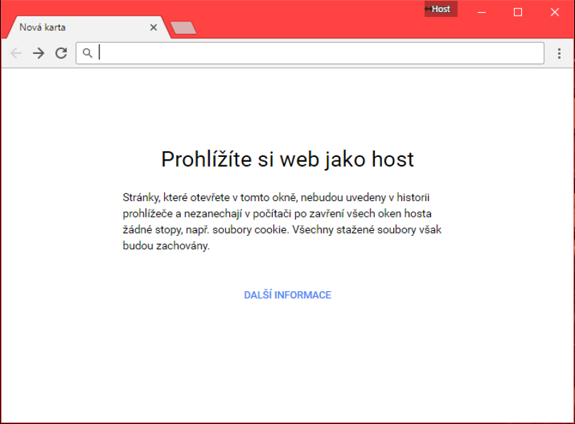 Google Chrome – režim hosta.